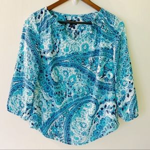 Talbots // Blue, White Watercolor Print Top SP